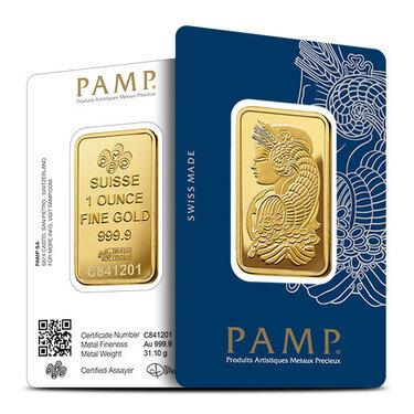 1 oz Gold Bar PAMP Suisse Lady Fortuna Veriscan .9999 Fine In Assay