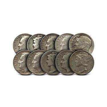 Survival Money Quality $2.00 Face Value 90/% Silver Junk Date Dimes Pre 1965