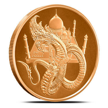 Welsh and Chinese 1 oz Pure 999 Copper round 3  World Of Dragon Series Aztec