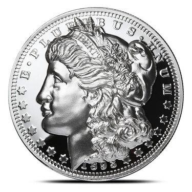 1 OZ COPPER ROUND 1878 MORGAN SILVER DOLLAR OBVERSE /& REVERSE DESIGNS