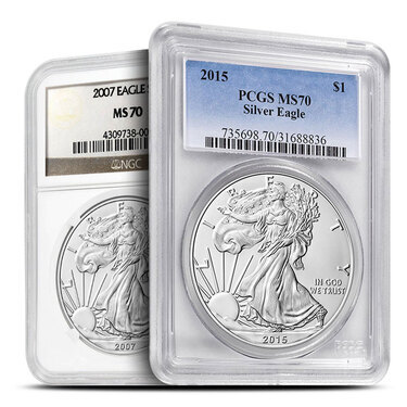 Made In USA Label 2007 1oz Silver Eagle PCGS MS70