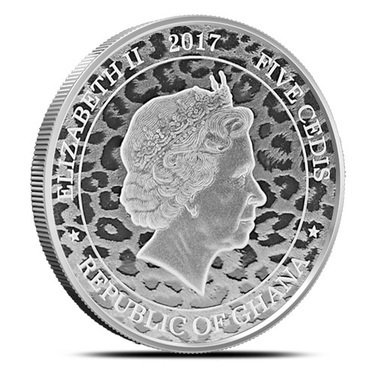 Scottsdale Mint Ghana 5 Cedis African Leopard 2017 1 oz .999 Silver Coin
