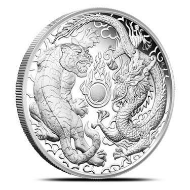 2018 Australian Dragon /& Tiger 1 Oz Reversed Proof-Like Silver Capsuled BU Coin