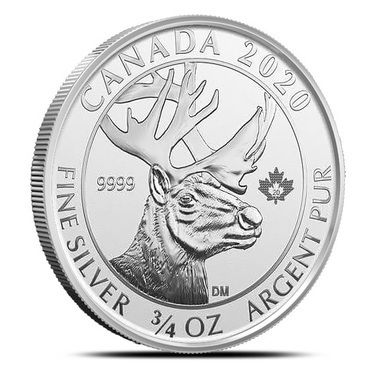 Reverse Proof 2020 3//4 Canadian Silver Woodland Caribou