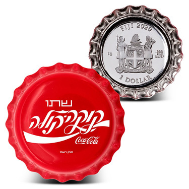 MINTAGE 1000 6 GRAM SILVER 2020 COCA-COLA BOTTLE CAP COIN ISRAELI LANGUAGE