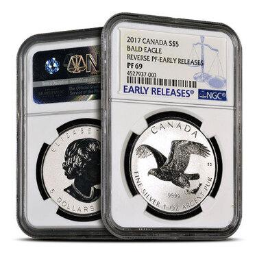 2017 Canadian Birds Of Prey Bald Eagle 1 oz .9999 Silver Reverse Proof Coin