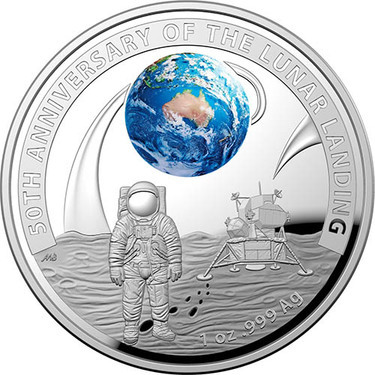 1oz Proof Silver Nuie Coin 4th and final in Moon landing Series COA /& Box