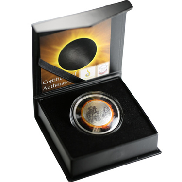 2017 Curved Solar Eclipse Colorized 1 oz .999 Silver Proof Sioux Nation Coin