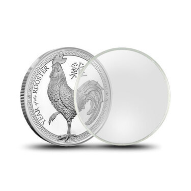 w// BOX QTY: 50 50 SILVER or COPPER ROUNDS Direct-Fit 39mm Coin Capsule Holder