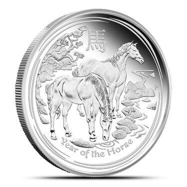 2014 Australian Silver Horse Lunar Series II Colorized BU 1 OZ