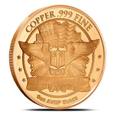 1 Oz Copper Round Trade Dollar 999,99 AVDP