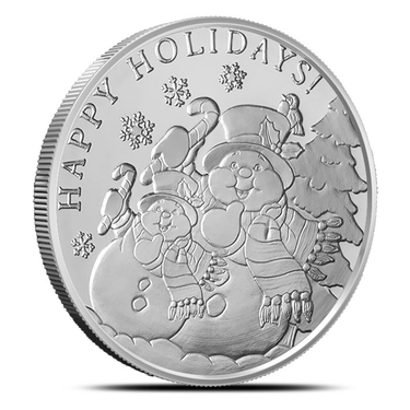 Snowman Holiday Greetings .999 Fine Silver Silver Round SilverTowne 1 oz