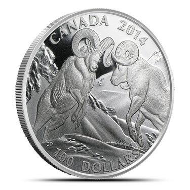 $100 for $100 Rocky Mountain Bighorn Sheep Canada 2014 Fine Silver