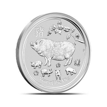 2019 Australian Lunar Series II Year Of The Pig 2 oz Silver BU Capsuled Coin