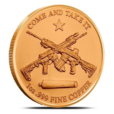 1 AVDP oz Second Amendment copper round Uncirculated coin .999