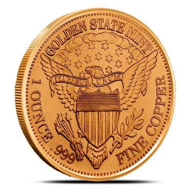 1 OZ COPPER ROUND 1921 PEACE DOLLAR OBVERSE /& REVERSE DESIGN