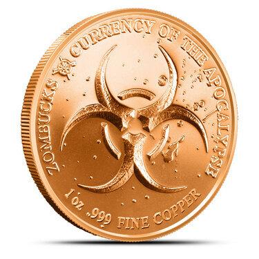 2-1 AVDP oz Zombucks 999 Fine Copper Rounds 2019 Slayed Dollar Design