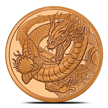 Silver The Chinese World of Dragons Series 1 oz 999 Silver Round China Wall